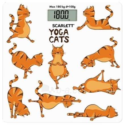 Svarstyklės Scarlett Bathroom scales SC - BS33E077 Maximum weight (capacity) 180 kg, Accuracy 100 g, Multiple user(s), Yoga cats Paveikslėlis 1 iš 1 310820134895