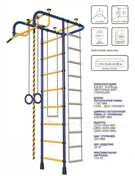 Švediška gimnastikos sienelė Pioner-A, raudona/geltona Paveikslėlis 2 iš 5 310820040608