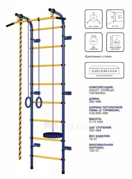 Švediška gimnastikos sienelė Pioner-C1H, mėlyna/raudona/geltona Paveikslėlis 2 iš 3 310820040604