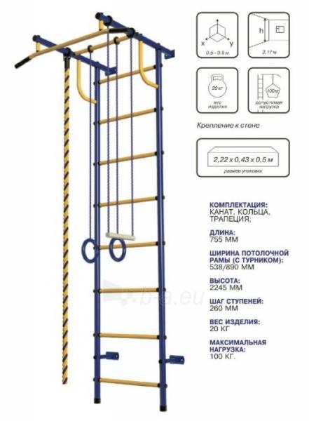 Švediška gimnastikos sienelė Pioner-C2H, mėlyna/raudona/geltona Paveikslėlis 2 iš 4 310820040596