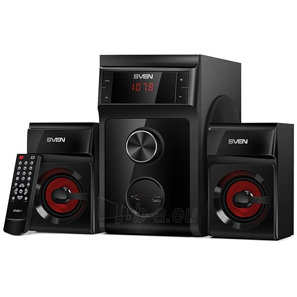SVEN MS-302, 2.1 speakers, black, FM, USB/SD, Display, RC unit, power output 20W+2x10W (RMS) Paveikslėlis 1 iš 1 310820000634