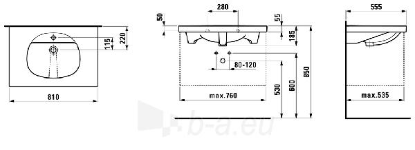 TALUX Baldinis praustuvas 81 x 55,5 cm, su 1 anga maišytuvui viduryje Paveikslėlis 2 iš 2 310820165652