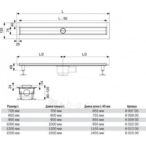 TECEdrainline BASIC 90 dušo latako kompektas 4 in 1 (*nutraukiama gamyba) Paveikslėlis 2 iš 3 310820163885