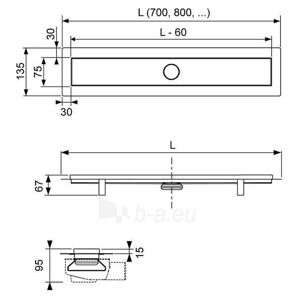 TECElinus dušo latako komplektas 4 in 1 su mat. plieno Straight grotelėmis, 900mm Paveikslėlis 2 iš 3 310820165779