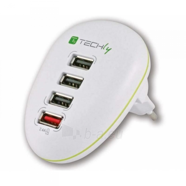 Techly USB įkroviklis 5V 2.5A, 4 USB prievadai, baltas Paveikslėlis 1 iš 4 250256401244