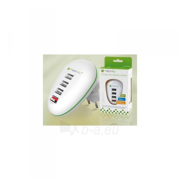 Techly USB įkroviklis 5V 2.5A, 4 USB prievadai, baltas Paveikslėlis 2 iš 4 250256401244