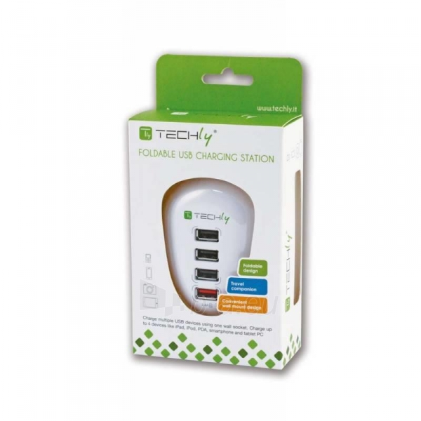 Techly USB įkroviklis 5V 2.5A, 4 USB prievadai, baltas Paveikslėlis 3 iš 4 250256401244