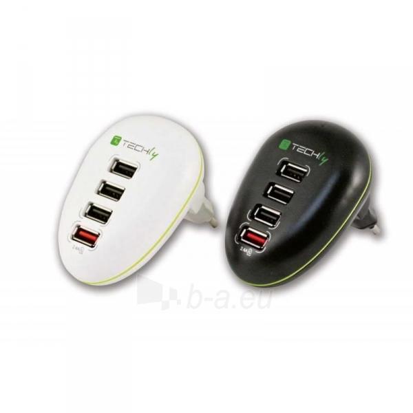 Techly USB įkroviklis 5V 2.5A, 4 USB prievadai, baltas Paveikslėlis 4 iš 4 250256401244