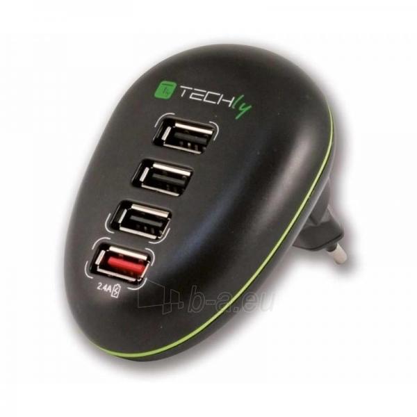 Techly USB įkroviklis 5V 2.5A, 4 USB prievadai, juodas Paveikslėlis 1 iš 4 250256401245