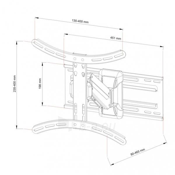 Televizoriaus laikiklis AR-71 LCD/LED 23-55 25kg reg. vertical/horizontal gas Paveikslėlis 6 iš 7 310820037570