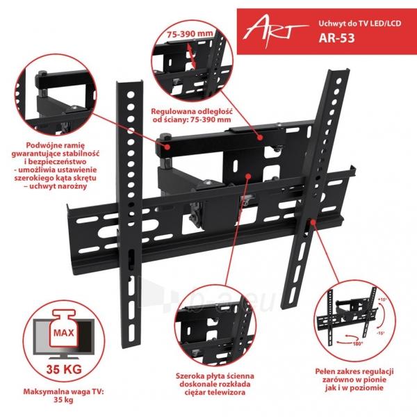 Televizoriaus laikilis ART Holder AR-53 22-55 for LCD/LED black 35KG vertical and level adjustment Paveikslėlis 2 iš 3 310820048362
