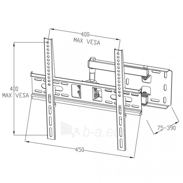 Televizoriaus laikilis ART Holder AR-53 22-55 for LCD/LED black 35KG vertical and level adjustment Paveikslėlis 3 iš 3 310820048362