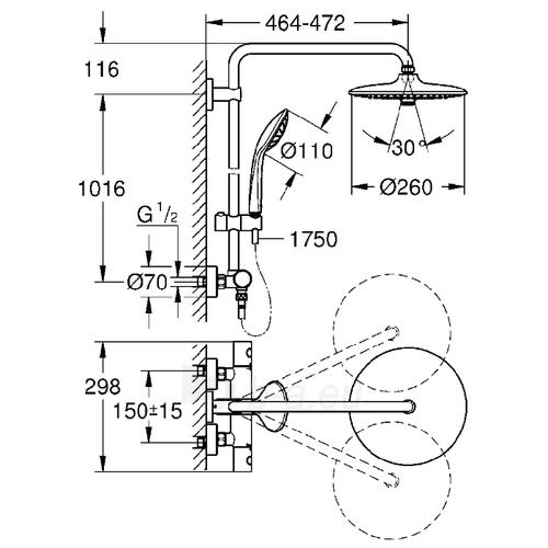 Termostatinė dušo sistema Euphoria 260 (stac. galva Ø260, alkūnė 450 mm, rankinis dušas Euphoria 110), chromas Paveikslėlis 2 iš 2 310820165725