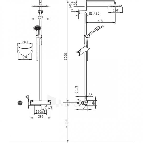 Termostatinė lietaus dušo sistema OPTIMA su rankiniu dušu, chromas Paveikslėlis 2 iš 2 310820163634