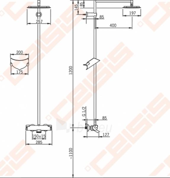 Termostatinė lietaus dušo sistema ORAS Optima su patogiomis suimti rankenėlėmis ir snapu Paveikslėlis 2 iš 4 30091700024
