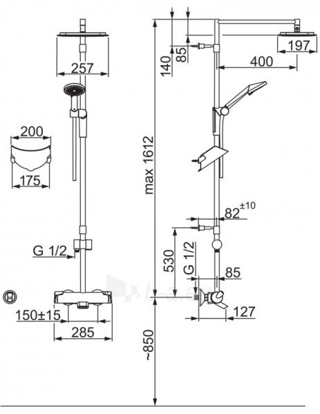 Termostatinė lietaus vonios/dušo sistema OPTIMA su rankiniu dušu ir snapu, chromas Paveikslėlis 2 iš 2 310820163761