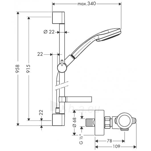Termostatinis maišytuvas dušui Ecostat 1001 SL 90 su dušo komplektu Paveikslėlis 2 iš 3 30091700002