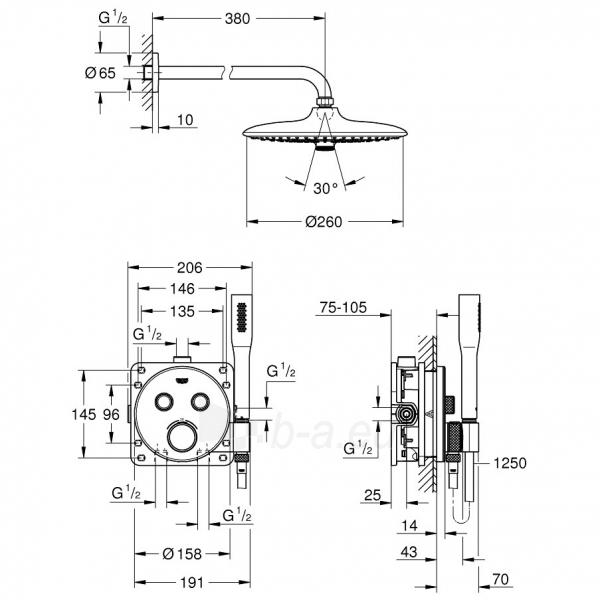 Termostatinis potinkinio dušo maišytuvo komplektas SmartControl, centrinė galva D260, chromas Paveikslėlis 2 iš 3 310820165762