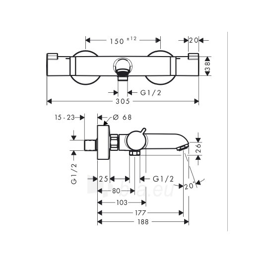 Termostatinis vonios maišytuvas Ecostat 13114000 Paveikslėlis 2 iš 2 30091700009