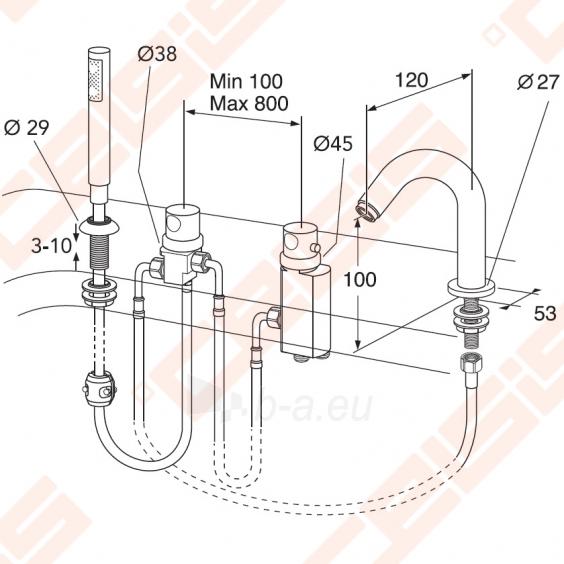 Termostatinis vonios maišytuvas keturių dalių GUSTAVSBERG Scandic Paveikslėlis 3 iš 3 30091700035
