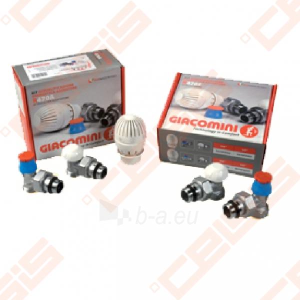 Tiesus komplektas: termostatinis ventilis, balansinis ventilis ir termostatinė galva radiatoriui pajungti 1/2