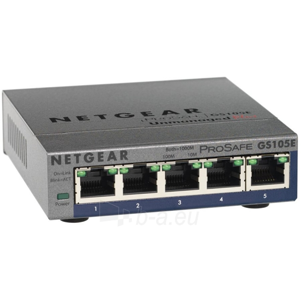 Tinklo įranga Switch NETGEAR GS105E, 5x 10/100/1000 Prosafe PLUS Switch (management via PC utility), VLAN, QOS, metal casing, External Power Adapter Paveikslėlis 1 iš 1 310820034873