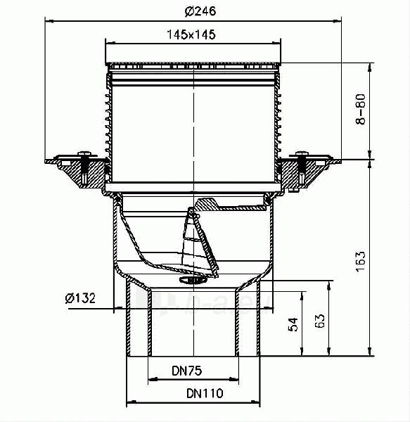 Trapas balkonams ir terasoms HL3100T, vertikaliu išleidimu ir neužšąlančiu sifonu Paveikslėlis 2 iš 2 310820253584