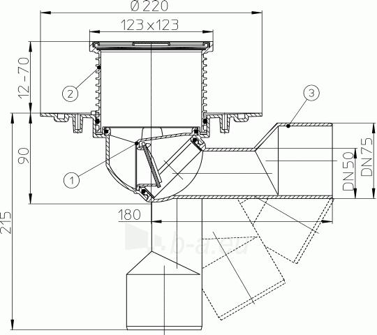 Trapas balkonams ir terasoms HL80 su pasukamu šarnyru DN50/75 Paveikslėlis 2 iš 2 310820253574