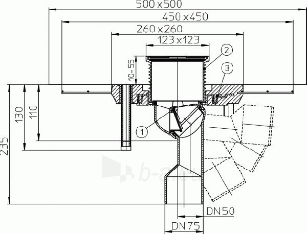 Trapas balkonams ir terasoms HL80C su polimerbetonio gembe Paveikslėlis 2 iš 2 310820253575