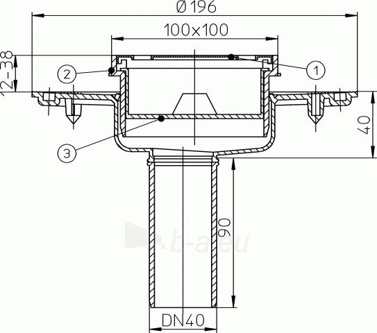 Trapas balkonams ir terasoms HL92 be mechaninio neužšąlančio kvapų uždorio Paveikslėlis 2 iš 2 310820253586
