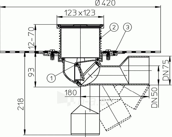 Trapas HL80H balkonams ir terasoms su hidroizoliaciniu bituminiu flanšu Paveikslėlis 2 iš 2 310820253576