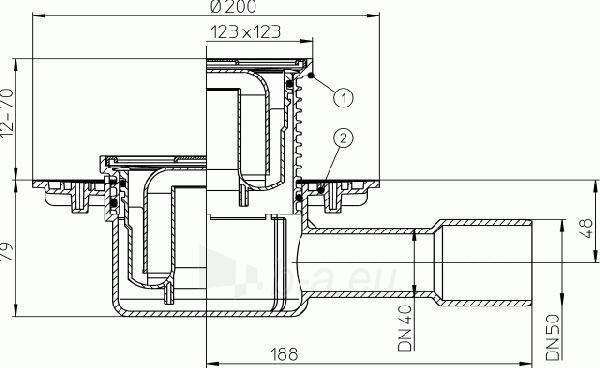 Trapas su horizontaliu išleidimu HL510N Paveikslėlis 2 iš 2 310820253564