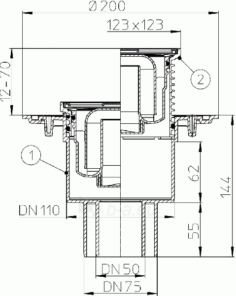 Trapas su vertikaliu išleidimu HL310N Paveikslėlis 2 iš 2 310820253551