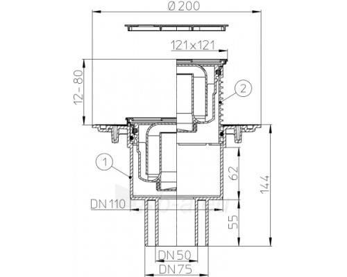 Trapas vidaus patalpoms HL310N-3000 su nerūdijančio plieno porėmiu Paveikslėlis 2 iš 2 310820253552