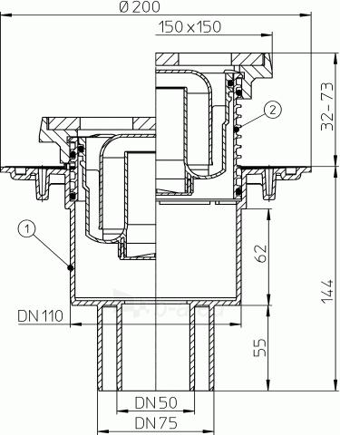 Trapas vidaus patalpoms HL310NG su grotelėmis ir porėmiu iš ketaus Paveikslėlis 2 iš 2 310820253555
