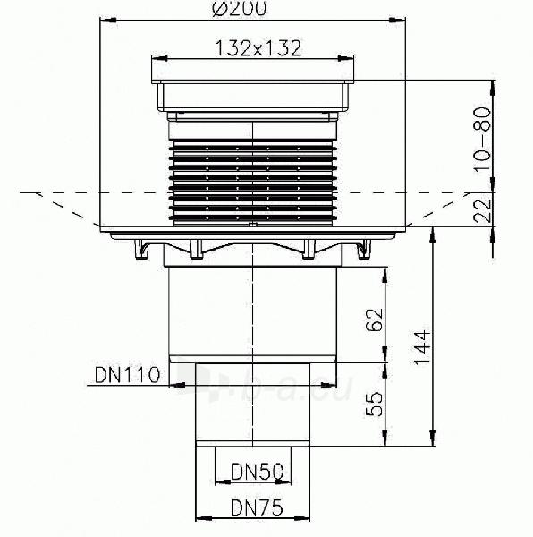 Trapas vidaus patalpoms HL310NPr-3020 su sausu sifonu Primus įklijuojamai plytelei Paveikslėlis 2 iš 2 310820253554