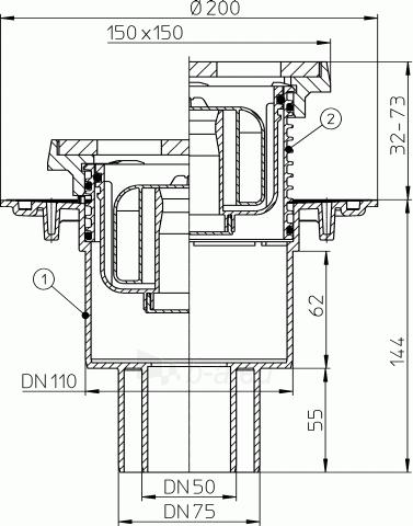 Trapas vidaus patalpoms HL310NPrG su grotelėmis ir porėmiu iš ketaus bei sausu sifonu Primus Paveikslėlis 2 iš 2 310820253558