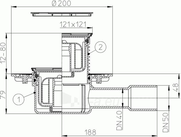 Trapas vidaus patalpoms HL510NPr-3000 su sifonu Primus ir nerūdijančio plieno porėmiu Paveikslėlis 2 iš 2 310820253539