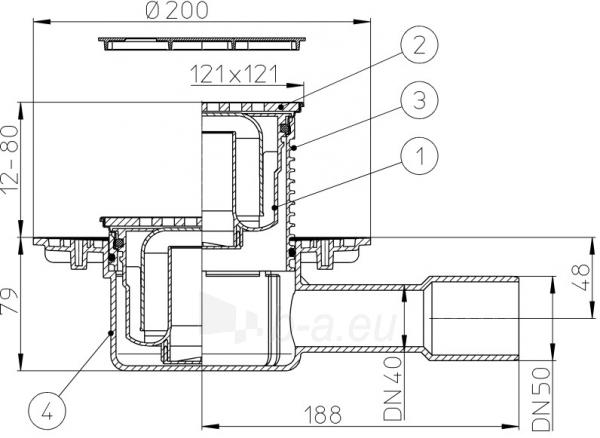 """Trapas vidaus patalpoms HL510NPr-3120 su """"sausu"""" sifonu Primus ir grotelės Paveikslėlis 3 iš 3 310820253623"""
