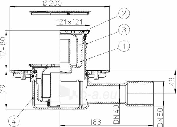 """Trapas vidaus patalpoms HL510NPr-3125 su """"sausu"""" sifonu Primus ir grotelės Paveikslėlis 3 iš 3 310820253625"""