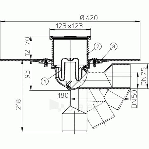 Trapas vidaus patalpoms HL80.1H su hidroizoliaciniu bituminiu flanšu Paveikslėlis 3 iš 3 310820253546