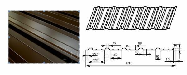 Trapecinio profilio skarda PL16+ plytų imitacija Paveikslėlis 2 iš 2 310820038378