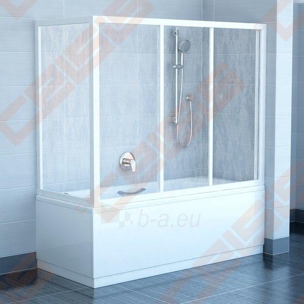 Trijų dalių stumdoma vonios sienelė AVDP3-120 su baltos spalvos profiliu ir pastiko Rain užpildu Paveikslėlis 2 iš 3 270717001144