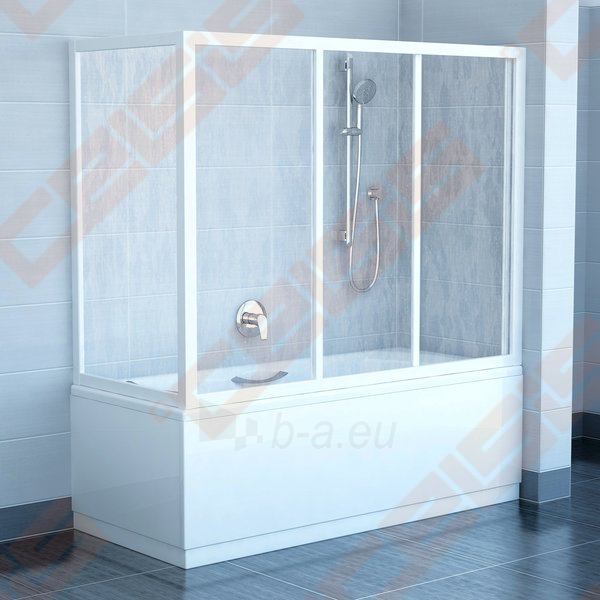 Trijų dalių stumdoma vonios sienelė AVDP3-160 su baltos spalvos profiliu ir matiniu stiklu Paveikslėlis 2 iš 3 270717001150