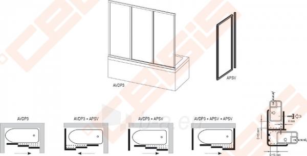 Trijų dalių stumdoma vonios sienelė AVDP3-170 su baltos spalvos profiliu ir pastiko Rain užpildu Paveikslėlis 3 iš 3 270717001154