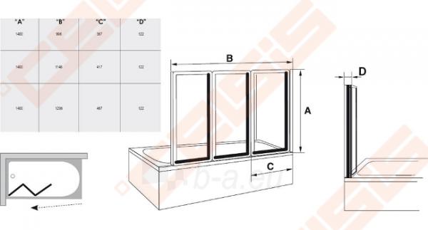 Trijų dalių sulankstoma vonios sienelė RAVAK VS3 115 su baltos spalvos profiliu ir plastiko Rain užpildu Paveikslėlis 3 iš 3 270717001165