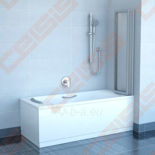 Trijų dalių sulankstoma vonios sienelė RAVAK VS3 115 su baltos spalvos profiliu ir skaidriu stiklu Paveikslėlis 2 iš 3 270717001167