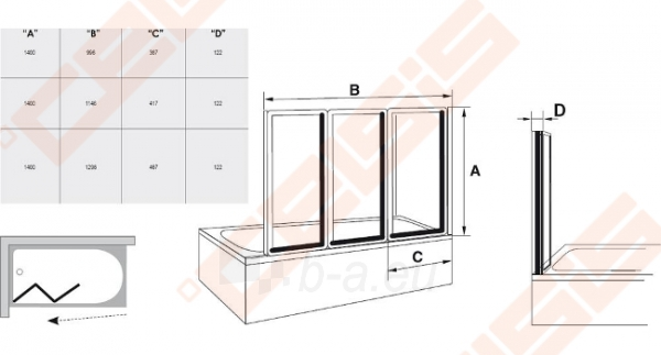 Trijų dalių sulankstoma vonios sienelė RAVAK VS3 115 su baltos spalvos profiliu ir skaidriu stiklu Paveikslėlis 3 iš 3 270717001167