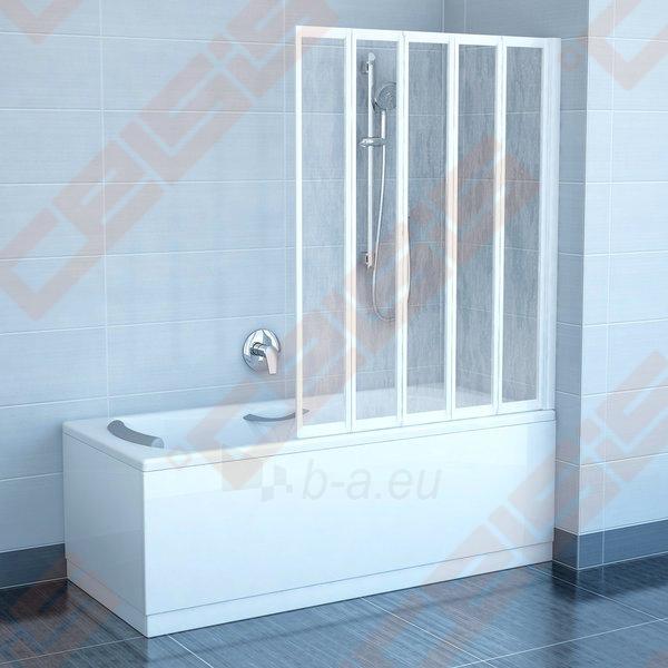 Trijų dalių sulankstoma vonios sienelė RAVAK VS5 114 su baltos spalvos profiliu ir plastiko Rain užpildu Paveikslėlis 1 iš 3 270717001174