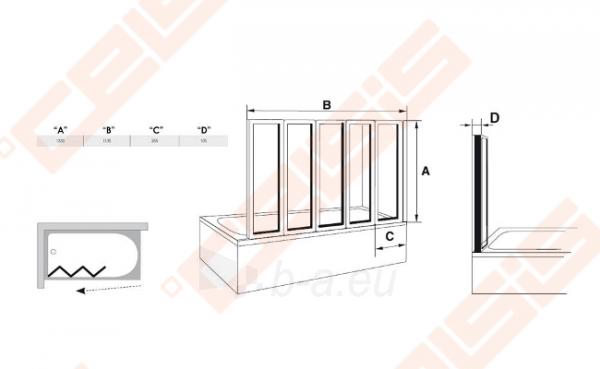 Trijų dalių sulankstoma vonios sienelė RAVAK VS5 114 su baltos spalvos profiliu ir plastiko Rain užpildu Paveikslėlis 3 iš 3 270717001174